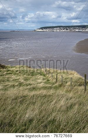 Landscape Image Of Weston-super-mare Seen From Sea Cliffs At Brean Down