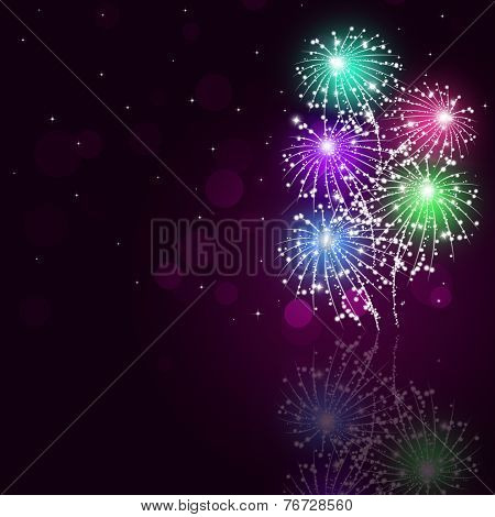 Multicolor Fireworks Show Background
