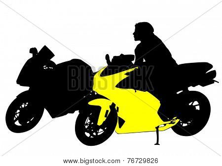 Motorcyclist women and bike on white background