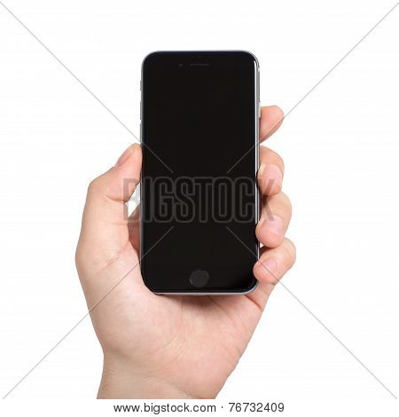Man Holding In The Hand Isolated Iphone 6 Space Gray