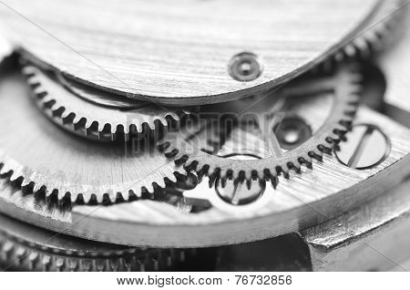 Black And White Background With Metal Cogwheels A Clockwork. Conceptual