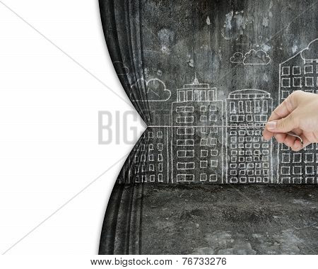 Hand Pull Dirty Cityscape Doodles Curtain Discovered Empty Blank Space