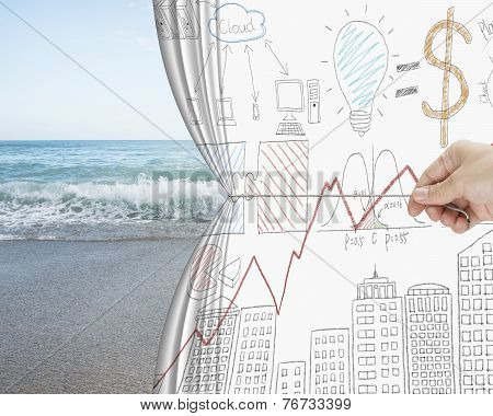 Hand Pulling Business Chart Doodles Curtain Discovered Natural Sandy Beach