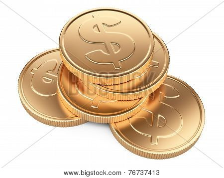 Stack Of Gold Coins Isolated On White