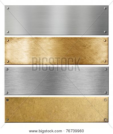 silver and brass metal plates or plaques with rivets isolated set