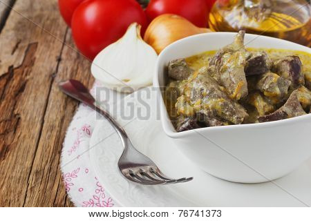Stewed Pork Liver In A Bowl