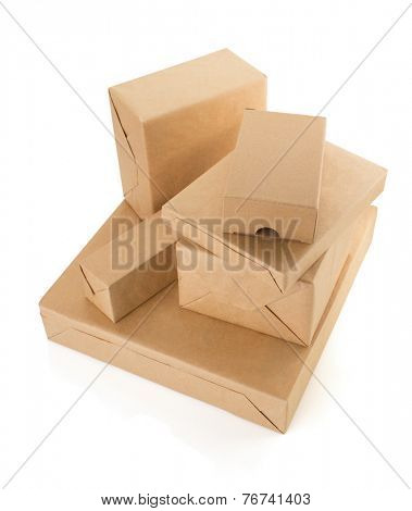 parcels boxes isolated on white background
