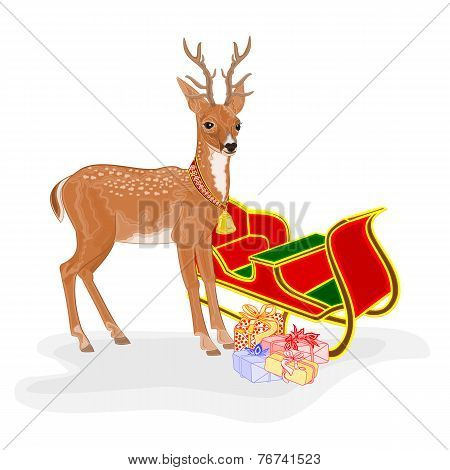 Christmas Reindeer With Santa's Sleigh And Gifts Vector