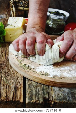 Human Hand Knead Pizza Dough