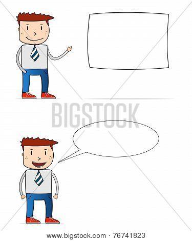 Cartoon Businessman With Textbox
