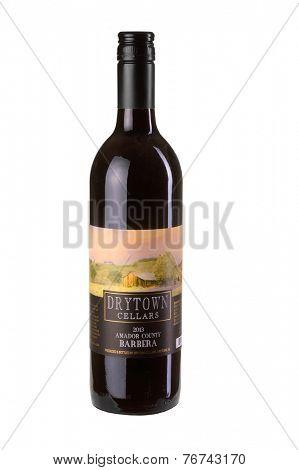 Hayward, CA - November 23, 2014: 750mL bottle of  Drytown Cellars Amador County Barbera