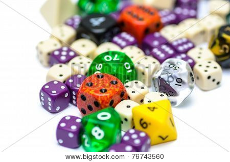 Multiple Colorful Role Playing Dices Lying On Isolated Background