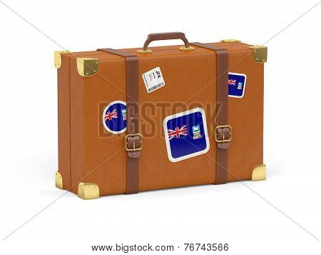 Suitcase With Flag Of Falkland Islands