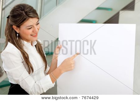 Business Woman Holding A Banner