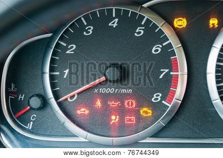 Closeup Of Car Tachometer