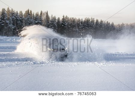 Car Snow Drift Explosion
