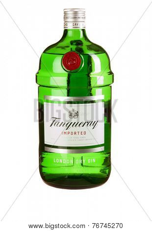 Hayward, CA - November 23, 2014: 1.5L bottle of  Tanqueray London Dry Gin