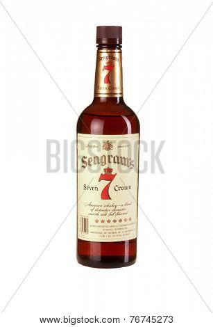 Hayward, CA - November 23, 2014: 750mL bottle of Seagrams Seven Crown American Blended Whiskey