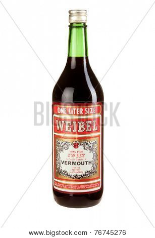 Hayward, CA - November 23, 2014: 1.5L bottle of Weibel brand Sweet Vermouth