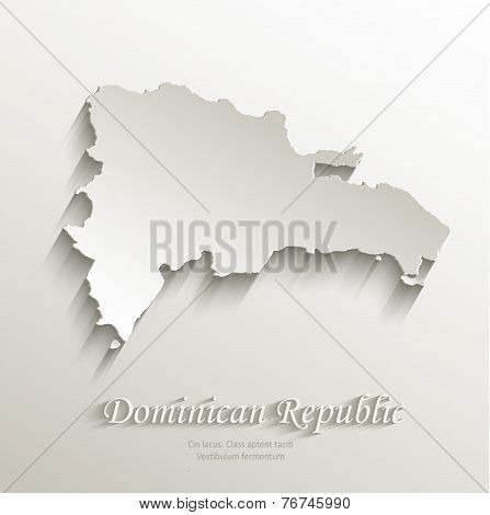 Dominican Republic map card paper 3D natural vector