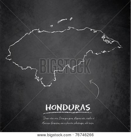 Honduras map blackboard chalkboard vector