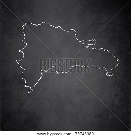 Dominican Republic map blackboard chalkboard raster