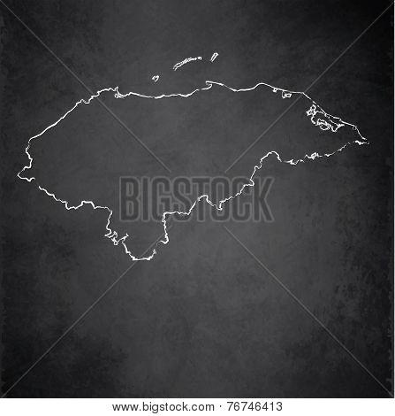 Honduras map blackboard chalkboard raster