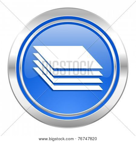 layers icon, blue button, gages sign