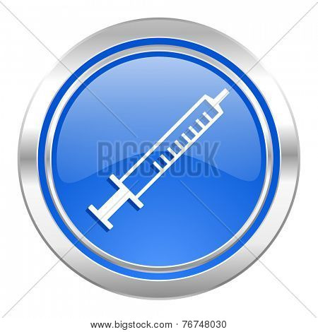medicine icon, blue button, syringe sign