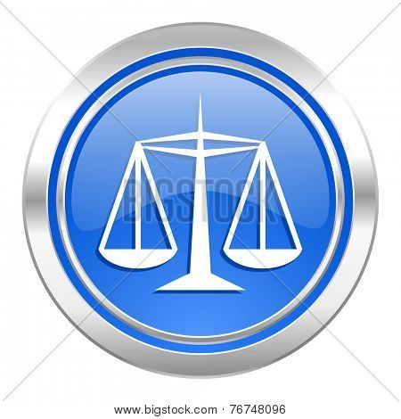 justice icon, blue button, law sign