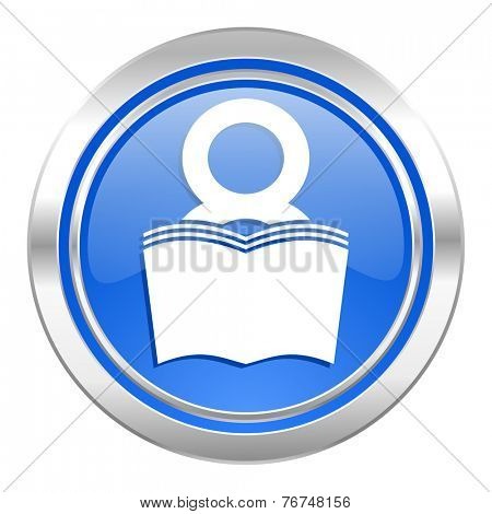 book icon, blue button, reading room sign, bookshop symbol