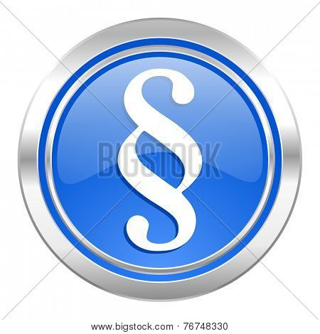 paragraph icon, blue button, law sign