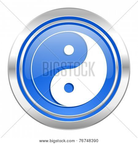 ying yang icon, blue button