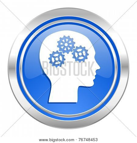 head icon, blue button, human head sign
