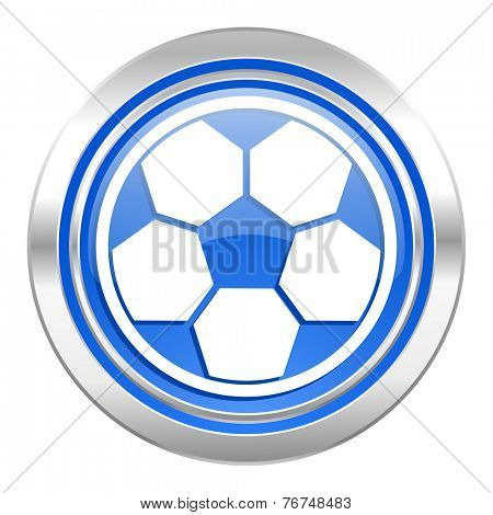 soccer icon, blue button, football sign