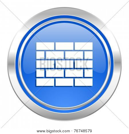 firewall icon, blue button, brick wall sign
