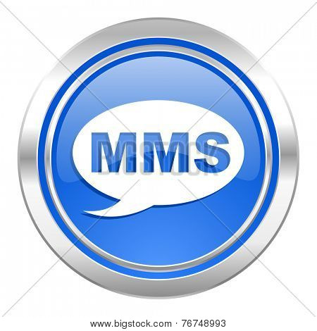 mms icon, blue button, message sign