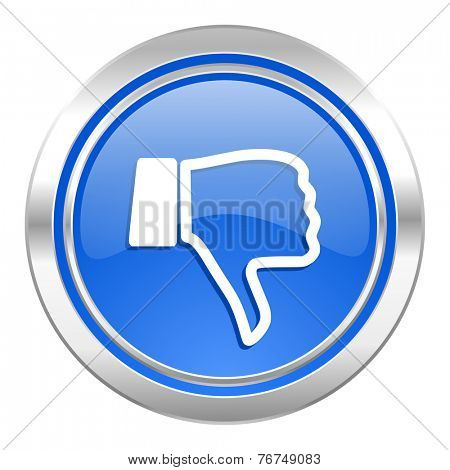 dislike icon, blue button, thumb down sign