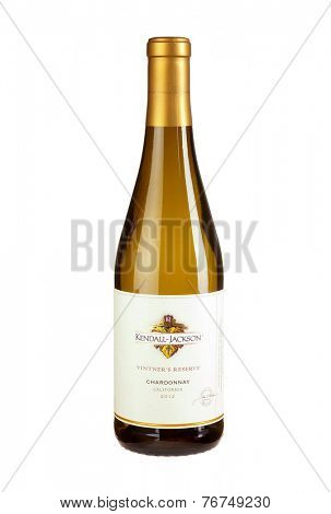 Hayward, CA - November 23, 2014: 750mL bottle of  Kendall Jackson Vintners Reserve 2012 Californian Chardonnay Wine