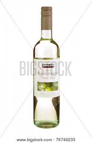 Hayward, CA - November 23, 2014: 750mL bottle of  Kirkland brand Pinot Grigio Italian Wine from Friuli, Italy