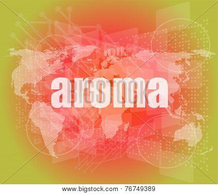 Aroma Word On Digital Screen, Mission Control Interface Hi Technology