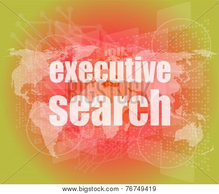 Executive Search Word On Digital Screen, Mission Control Interface Hi Technology