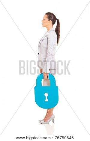 side view of businesswoman with blue lock symbol looking up