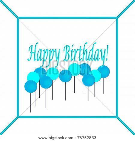 Blue and Light Blue Happy Birthday Cake