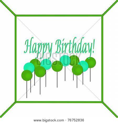 Green and Blue Happy Birthday Cake