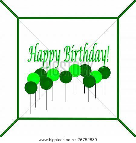 Green and Light Green Happy Birthday Cake