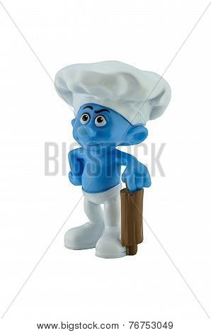 Smurf Cook With Wood Roller