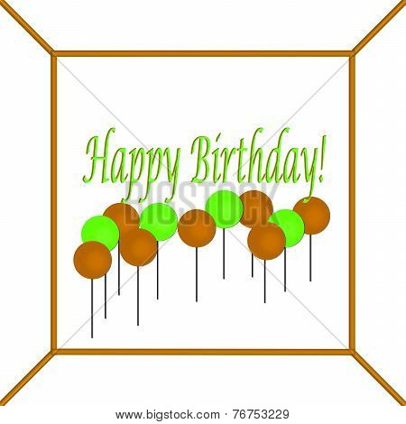 Orange and Green Happy Birthday Cake