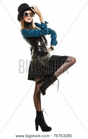 Beautiful Steampunk Woman In Glasses Isolated.