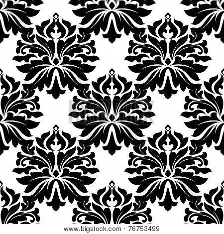 Black classic damask seamless pattern
